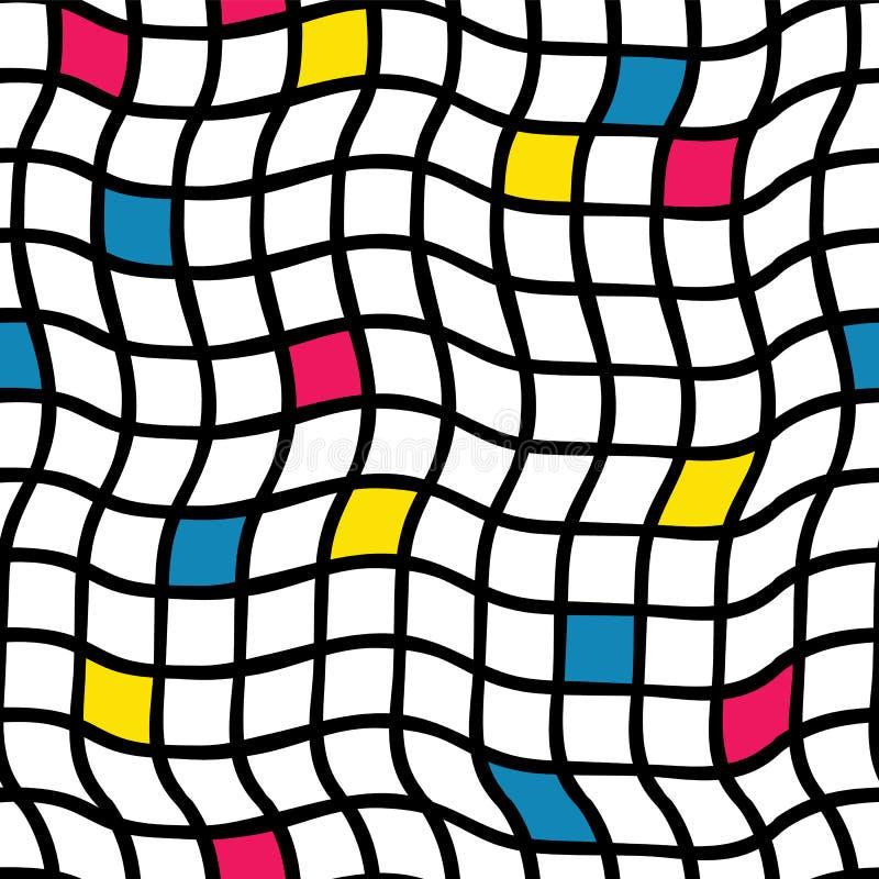 Handdrawn шотландок незаконное вектор картины безшовный Черная решетка с желтыми, голубыми, и розоватыми красными покрашенными кв иллюстрация штока