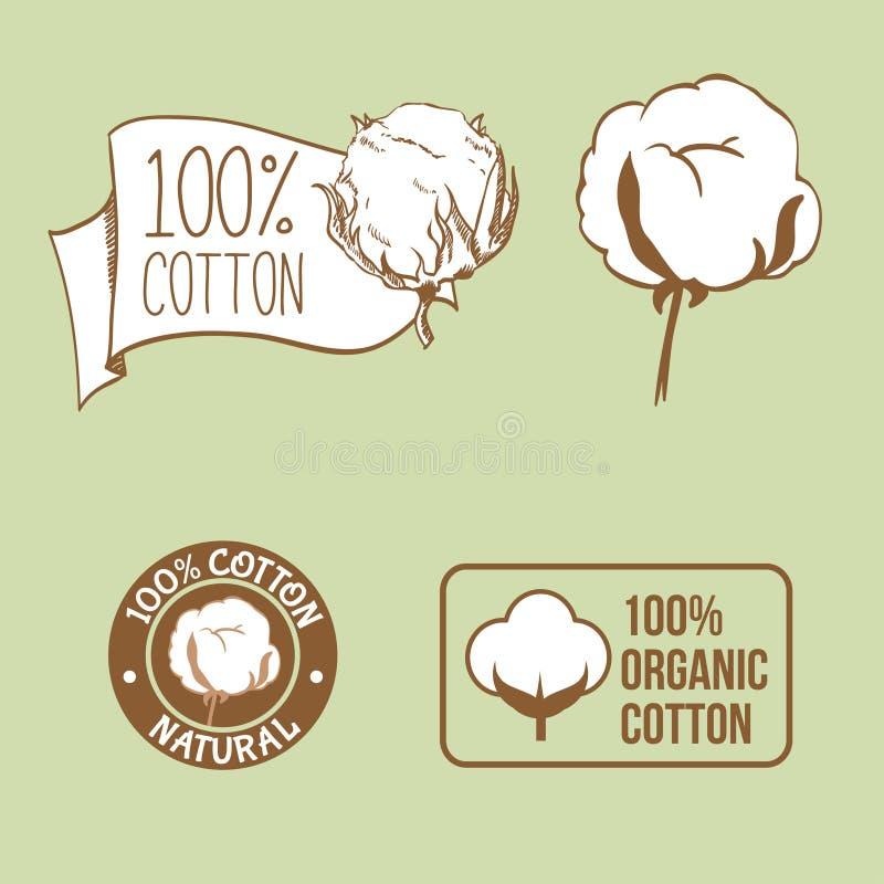 Handdrawn ярлык хлопка для ткани бесплатная иллюстрация