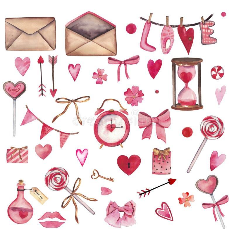 Handdrawn akwarela ustawiająca elementy odizolowywający na białym tle Piękni sercowaci elementy: miłość jad, klucz ilustracja wektor