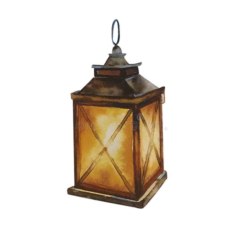 Handdrawn akwareli ilustracja odizolowywająca na białym tle Pięknego brązu kwadrata rozjarzony Bożenarodzeniowy lampion ilustracja wektor