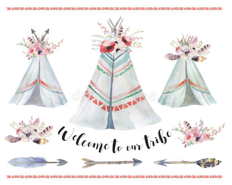 Handdrawn akwareli plemienny teepee, odosobniony boho namiot ilustracji