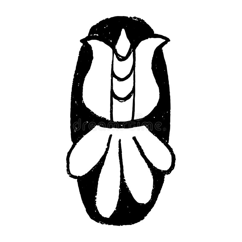 Handdrawn Arabische cijfers Nummer 0 - het bloemenelement van aantallen maakte van hand getrokken bloemen voor uw het van letters stock illustratie