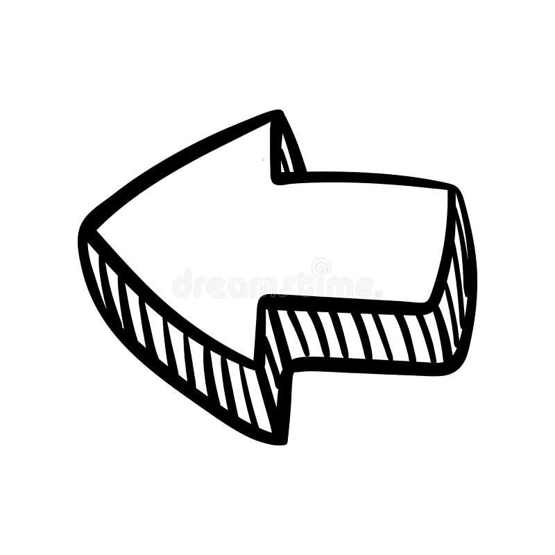 Handdrawn arrow doodle icon. Hand drawn black sketch. Sign symbol. Decoration element. White background. Isolated. Flat design. stock illustration