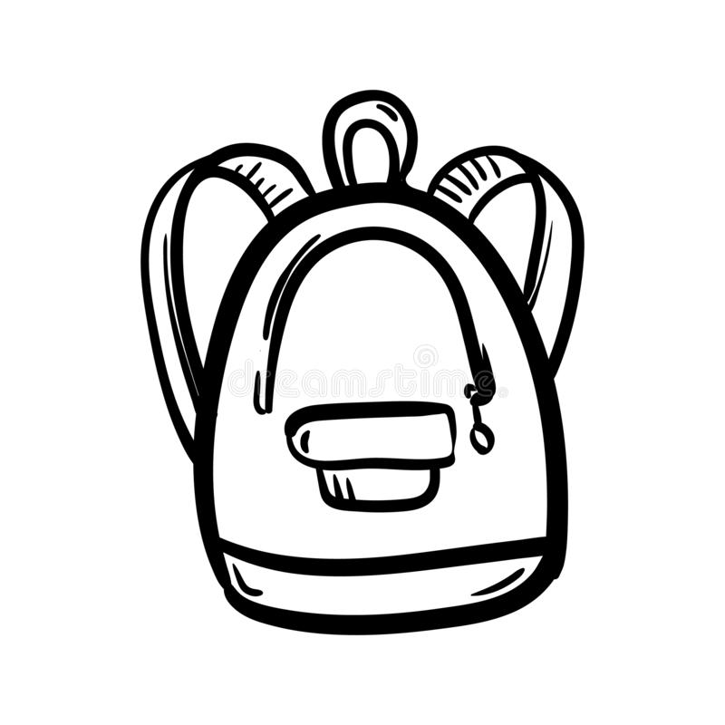 Handdrawn backpack doodle icon. Hand drawn black sketch. Sign symbol. Decoration element. White background. Isolated. Flat design stock illustration