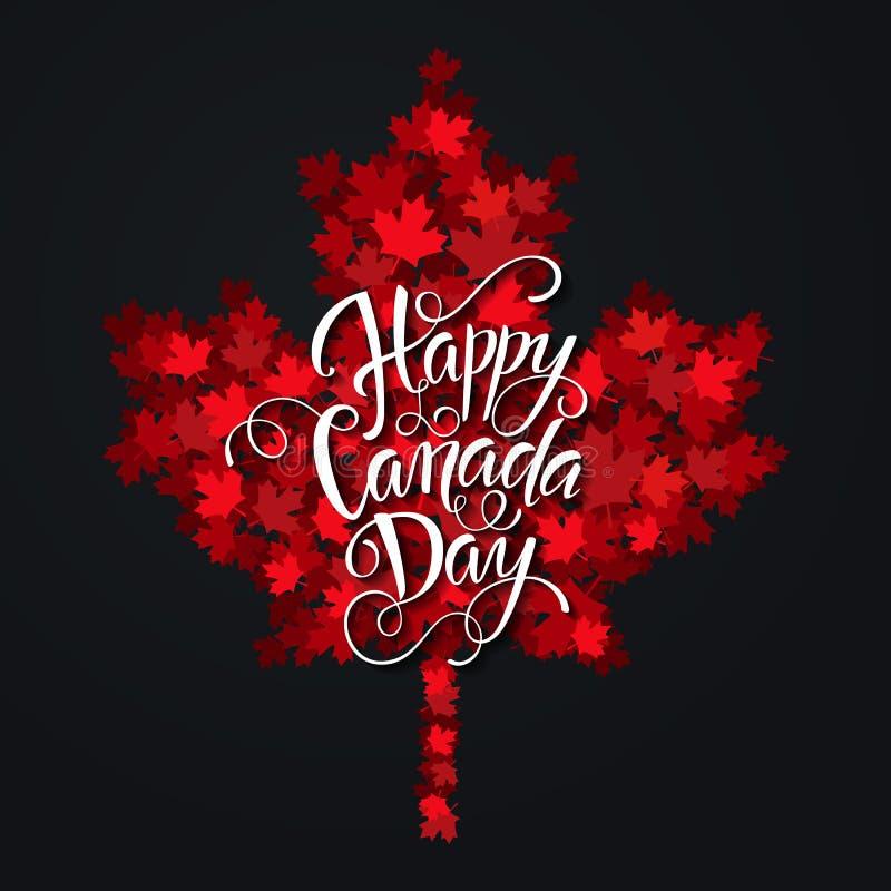 Handdrawn bokstäver för lycklig Kanada dag Lönnlövtextur vektor illustrationer