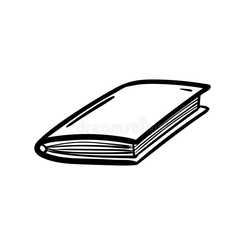 Handdrawn book doodle icon. Hand drawn black sketch. Sign symbol. Decoration element. White background. Isolated. Flat design. royalty free illustration