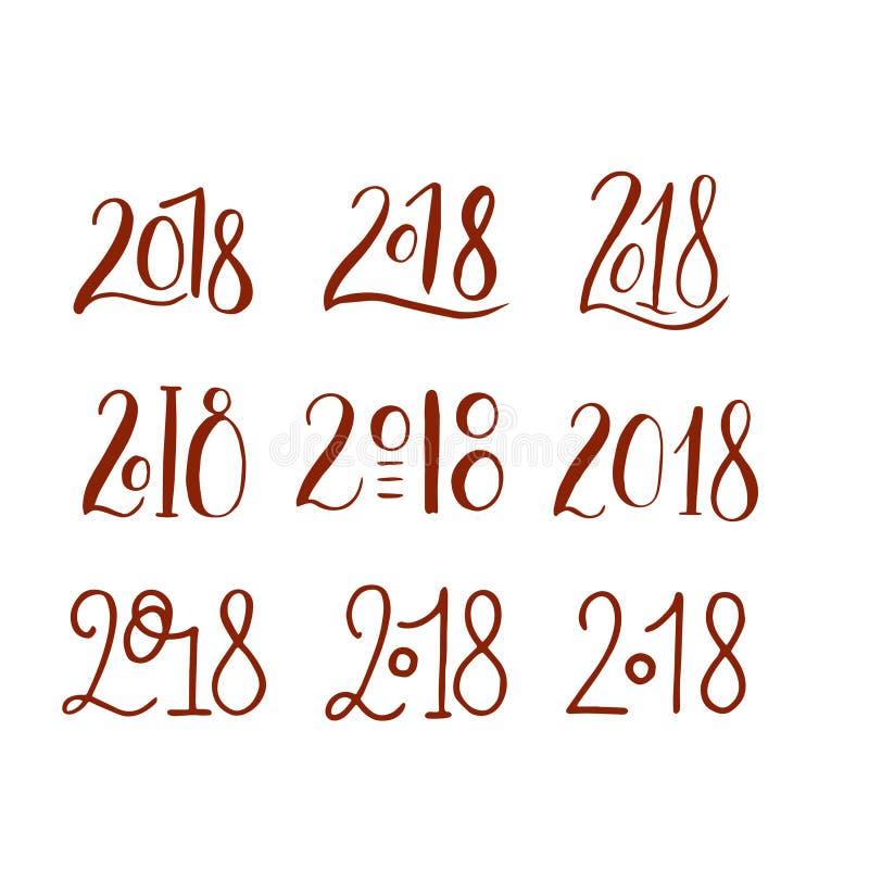 Handdrawn borstel het van letters voorzien reeks met nummer 2018 vector illustratie