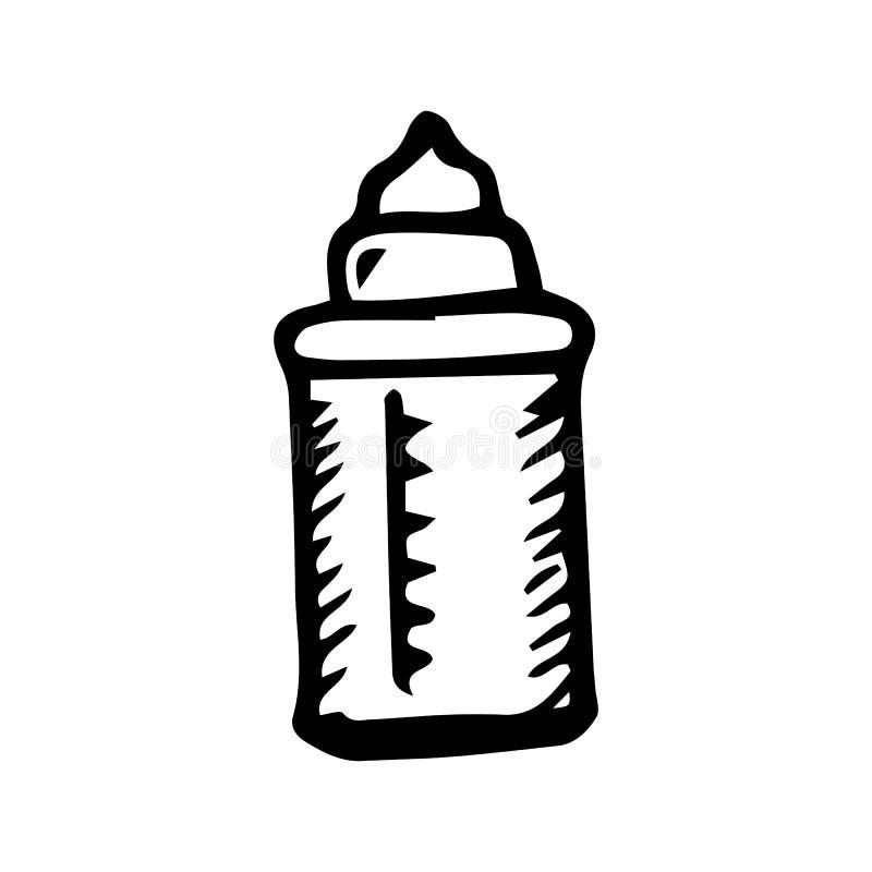 Handdrawn bottle doodle icon. Hand drawn black sketch. Sign symbol. Decoration element. White background. Isolated. Flat design. stock illustration