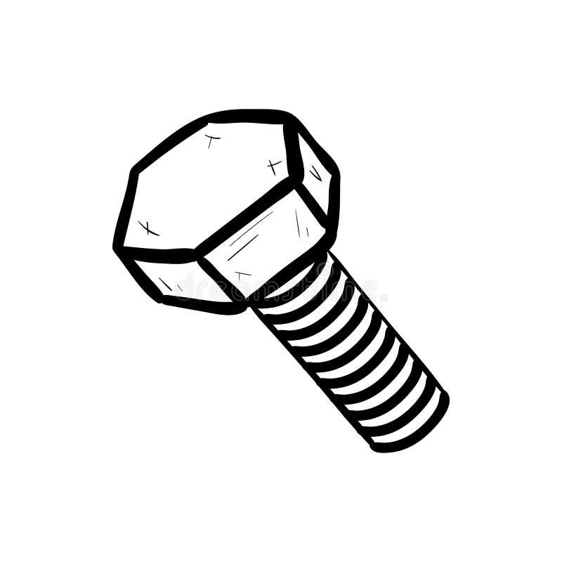 Handdrawn bult med mutterklottersymbolen Handen dragen svart skissar Teckentecknad filmsymbol Taget i Genua, Italien Vit bakgrund royaltyfri illustrationer