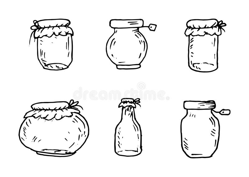 Handdrawn canning bank set doodle icon. Hand drawn black sketch. Sign cartoon symbol. Decoration element. White background. Isolated. Flat design. Vector stock illustration