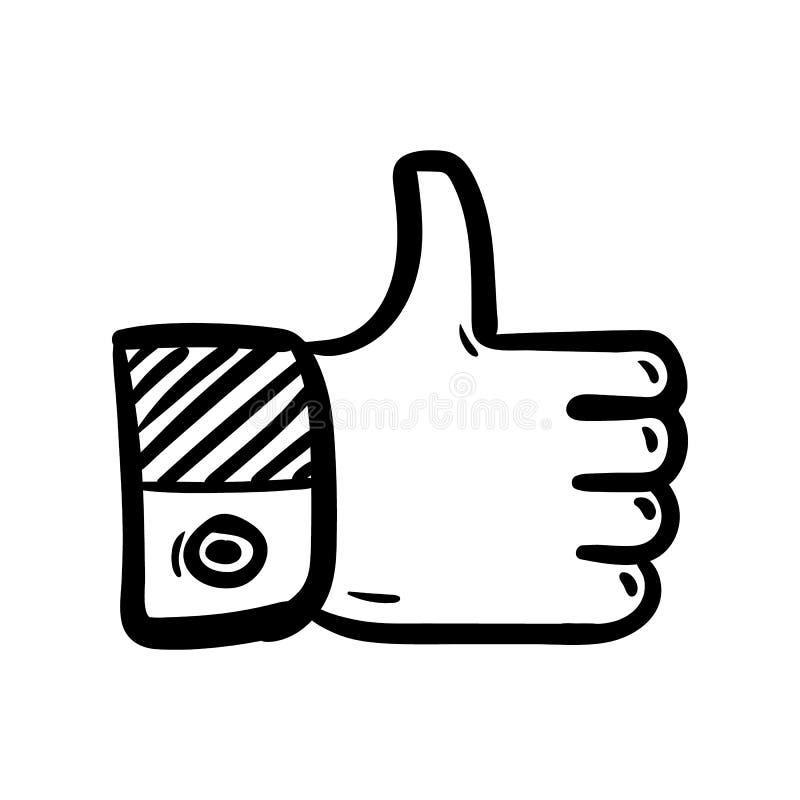 Handdrawn como icono del garabato Bosquejo negro dibujado mano s?mbolo de la muestra Elemento de la decoraci?n Fondo blanco Aisla ilustración del vector