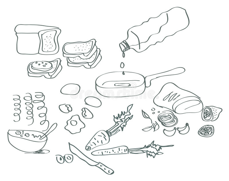Handdrawn Cooking Elements Stock Photography
