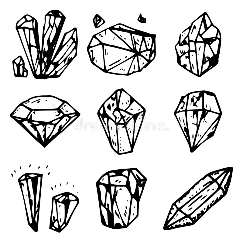 Handdrawn crystals set doodle icon. Hand drawn black sketch. Sign symbol. Decoration element. White background. Isolated. Flat vector illustration