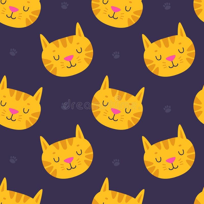 Handdrawn cute cat seamless pattern on dark background. stock illustration