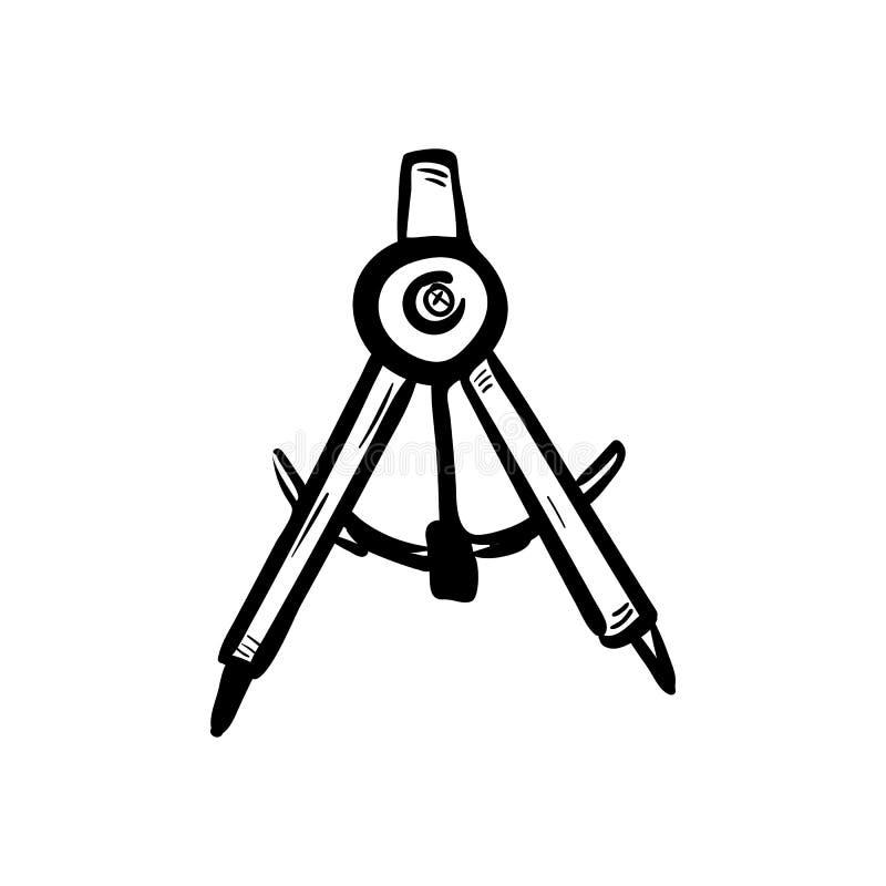 Handdrawn de krabbelpictogram van het tekeningskompas Hand getrokken zwarte schets tekensymbool Genomen in Genua, Italië Witte ac vector illustratie