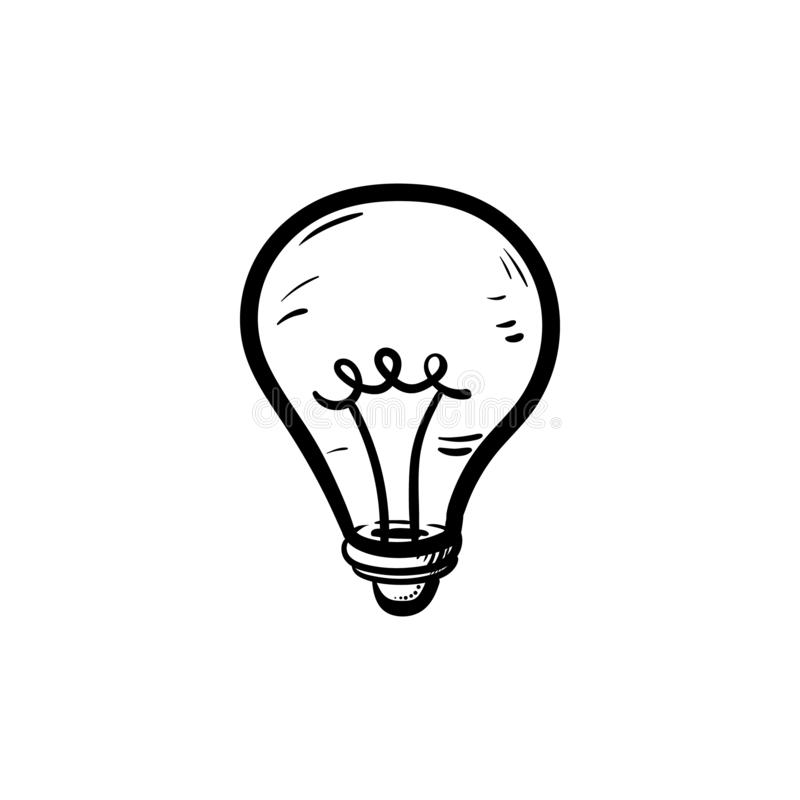 Handdrawn de krabbelpictogram van de ideelamp Hand getrokken zwarte schets tekensymbool Genomen in Genua, Itali? Witte achtergron royalty-vrije illustratie