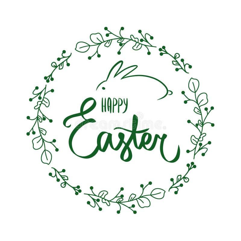 Handdrawn Donkergroene bloemenbloemcirkel om kaderkaart met zoet Gelukkig Pasen-teken met vreugdekader, konijntje Groen konijn vector illustratie