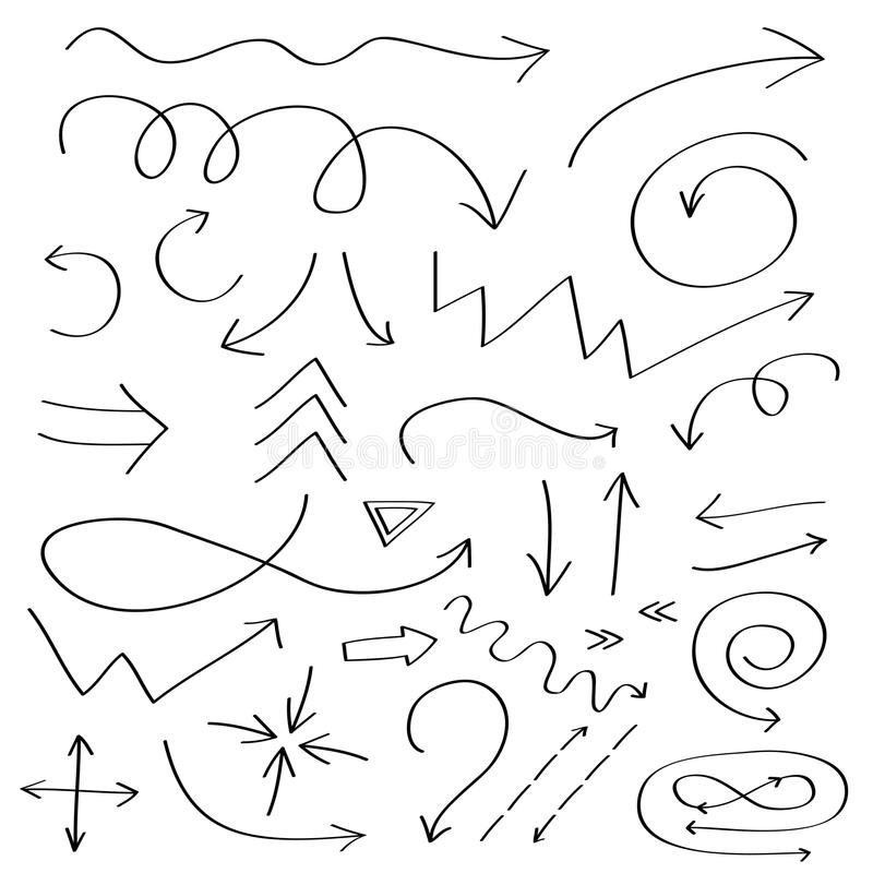 Handdrawn doodle arrows icon. Hand drawn black arrow sketch set. Sign symbol collection. Decoration element. White background. Iso royalty free illustration