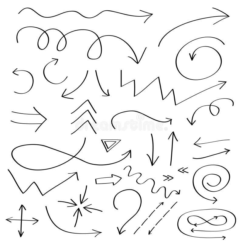 Handdrawn doodle strzała ikona Ręka rysujący czarny strzałkowaty nakreślenie set Szyldowa symbol kolekcja Dekoracja element Biały royalty ilustracja