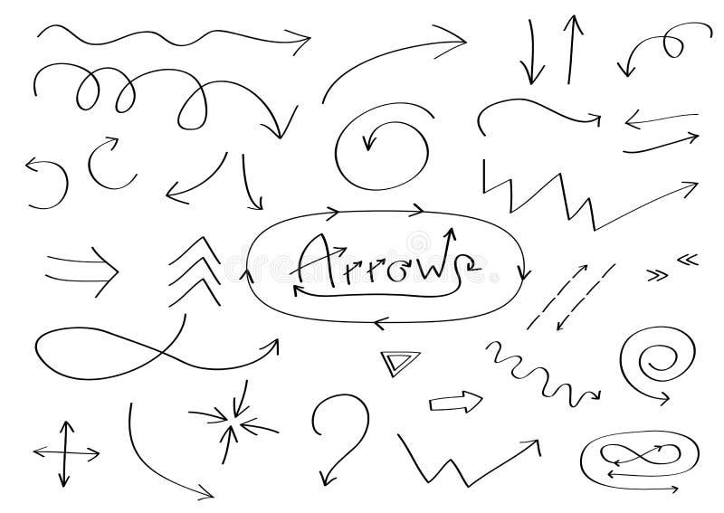 Handdrawn doodle strzała ikony set Ręka rysujący czarny strzałkowaty nakreślenie Szyldowa symbol kolekcja Dekoracja element Biały ilustracja wektor