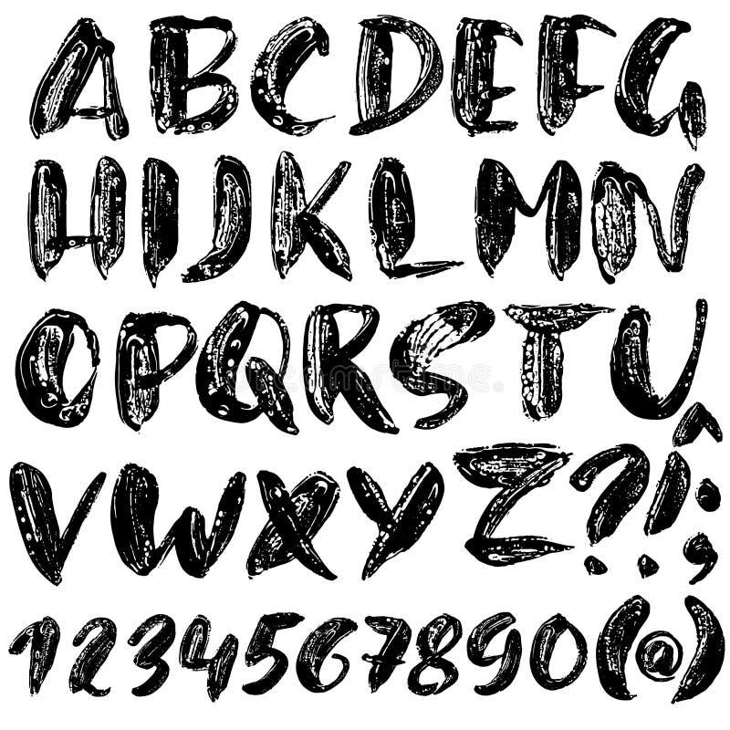 Handdrawn droge borsteldoopvont Het moderne borstel van letters voorzien Het alfabet van de Grungestijl Vector illustratie vector illustratie
