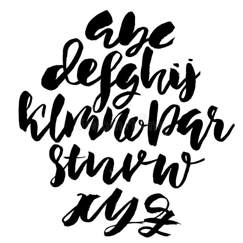 Handdrawn dry brush font. Modern brush lettering. Grunge style alphabet. Vector illustration. Handdrawn dry brush font. Modern brush lettering. Grunge style vector illustration