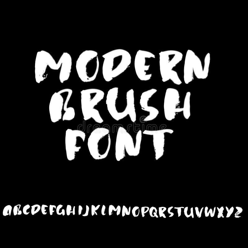Handdrawn dry brush font. Modern brush lettering. Grunge style alphabet. Vector illustration. royalty free illustration
