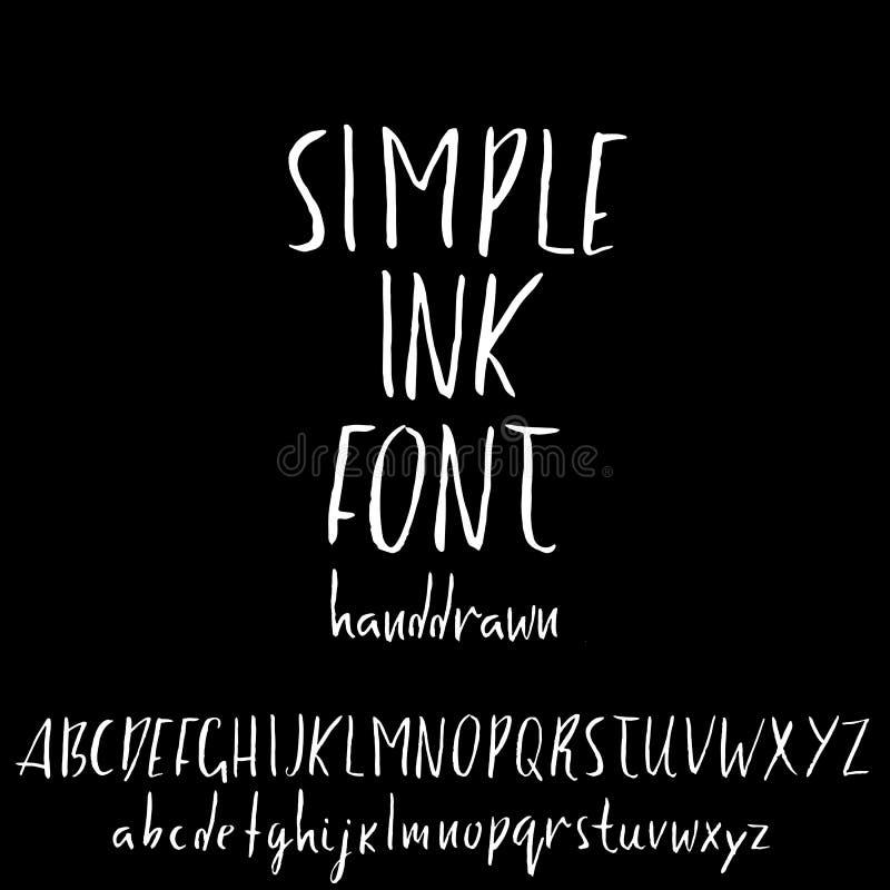 Handdrawn dry brush font. Modern brush lettering. Grunge style alphabet. Vector illustration. Handdrawn dry brush font. Modern brush lettering. Grunge style royalty free illustration