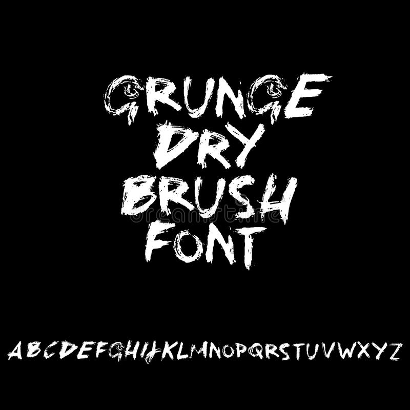 Handdrawn dry brush font. Modern brush lettering. Grunge style alphabet. Vector illustration. Handdrawn dry brush font. Modern brush lettering. Grunge style stock illustration