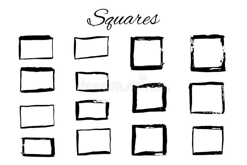 Handdrawn embleemelementen met vierkanten royalty-vrije illustratie