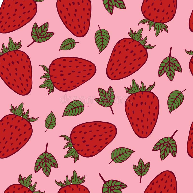 Handdrawn Erdbeernahtloses Muster auf rosa Hintergrund lizenzfreie abbildung