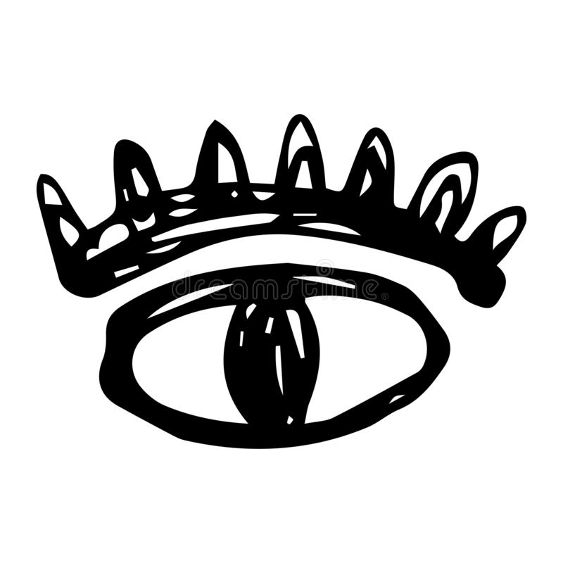 Handdrawn eye doodle icon. Hand drawn black sketch. Sign symbol. Decoration element. White background. Isolated. Flat design. Vector illustration, set, look royalty free illustration