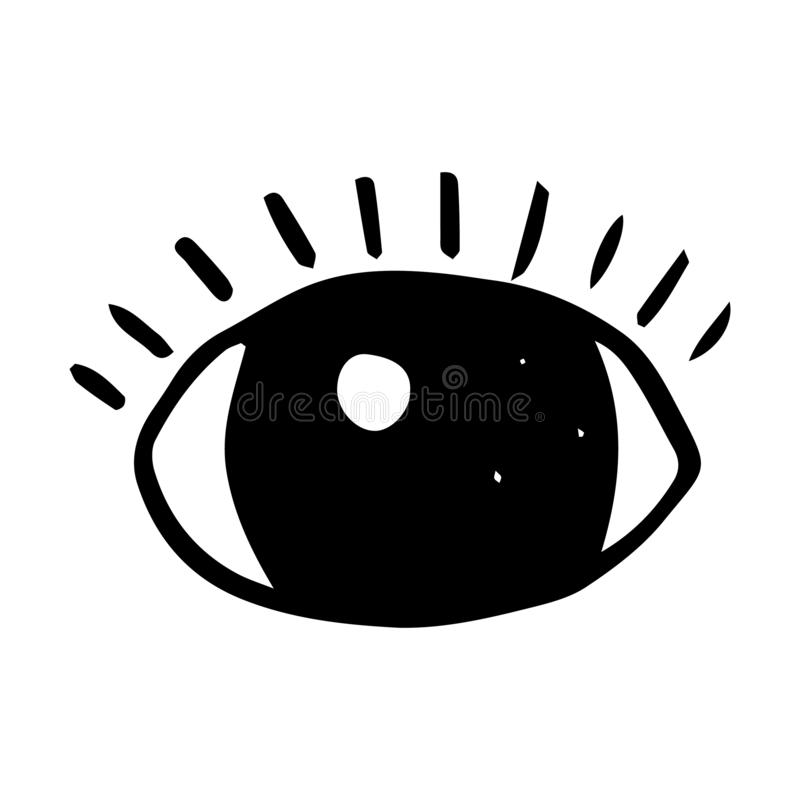 Handdrawn eye doodle icon. Hand drawn black sketch. Sign symbol. Decoration element. White background. Isolated. Flat design. Vector illustration, set, look vector illustration