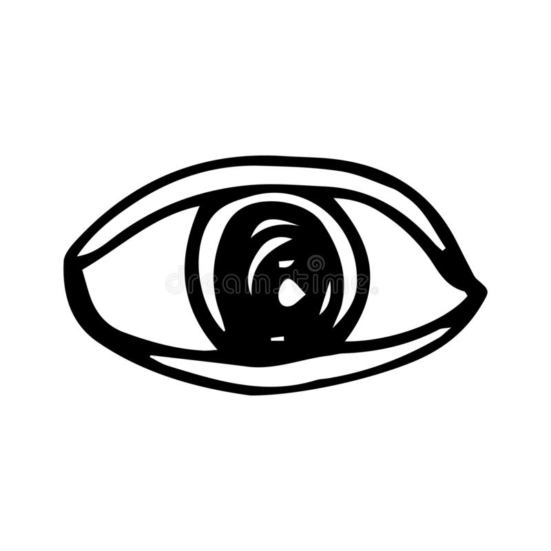 Handdrawn eye doodle icon. Hand drawn black sketch. Sign symbol. Decoration element. White background. Isolated. Flat design. Vector illustration, set, look stock illustration