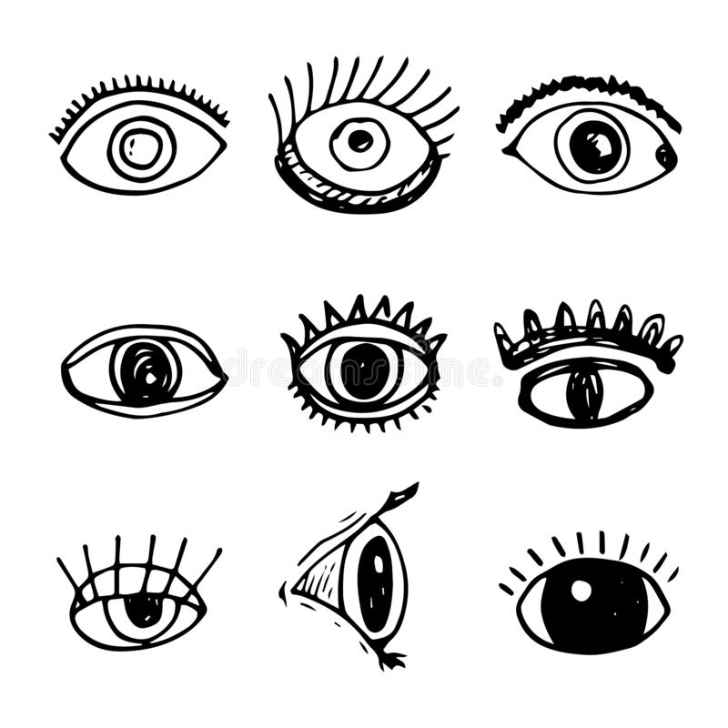 Handdrawn eyes doodle icon. Hand drawn black sketch. Sign symbol. Decoration element. White background. Isolated. Flat design. Vector illustration, set, look royalty free illustration