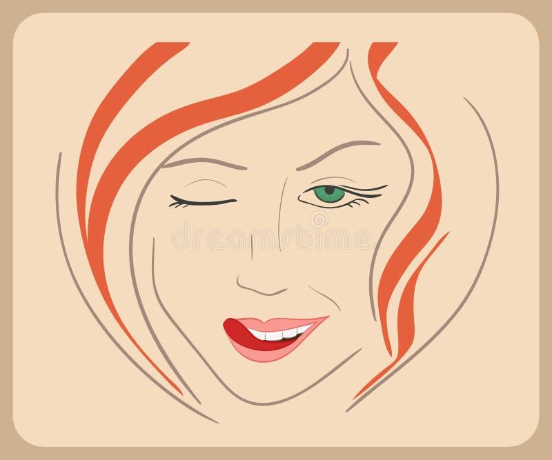 Handdrawn Frauengesicht blinzelt mit dem roten Haar und Grün vektor abbildung