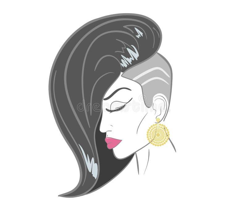 Handdrawn Frauengesicht mit den sinnlichen Lippen und Schwarzem lizenzfreie abbildung