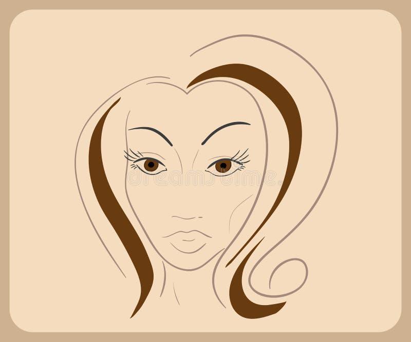 Handdrawn Frauengesicht mit sinnlichen Augen und Braun vektor abbildung