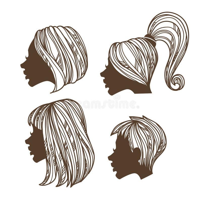 Handdrawn frisyr vektor illustrationer