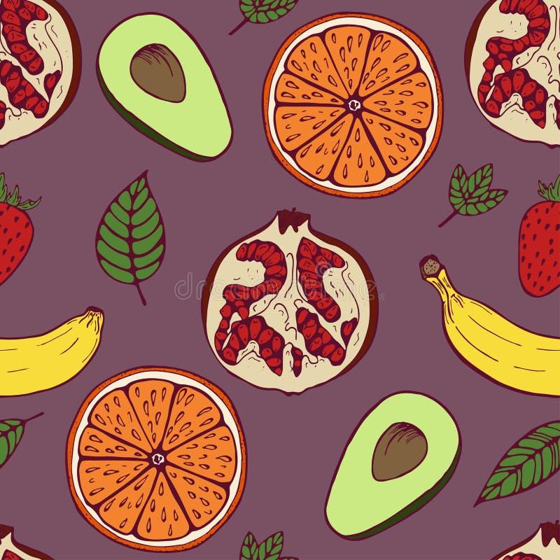Handdrawn fruit vastgesteld naadloos patroon op violette achtergrond stock illustratie
