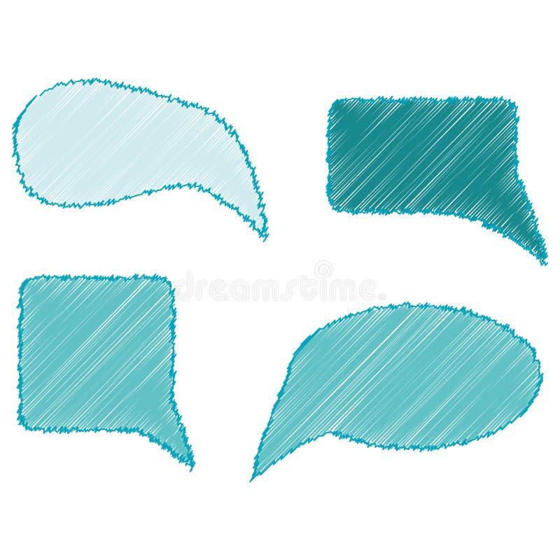Handdrawn gekleurde die toespraakbellen op het wit worden geplaatst vector illustratie
