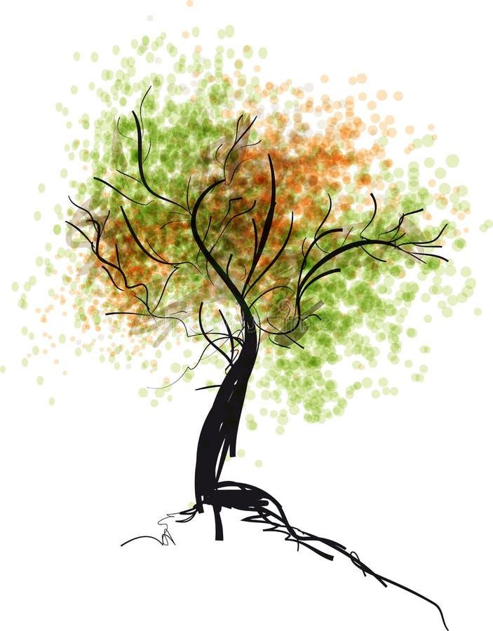 Handdrawn höstträd färgrik illustration royaltyfri illustrationer