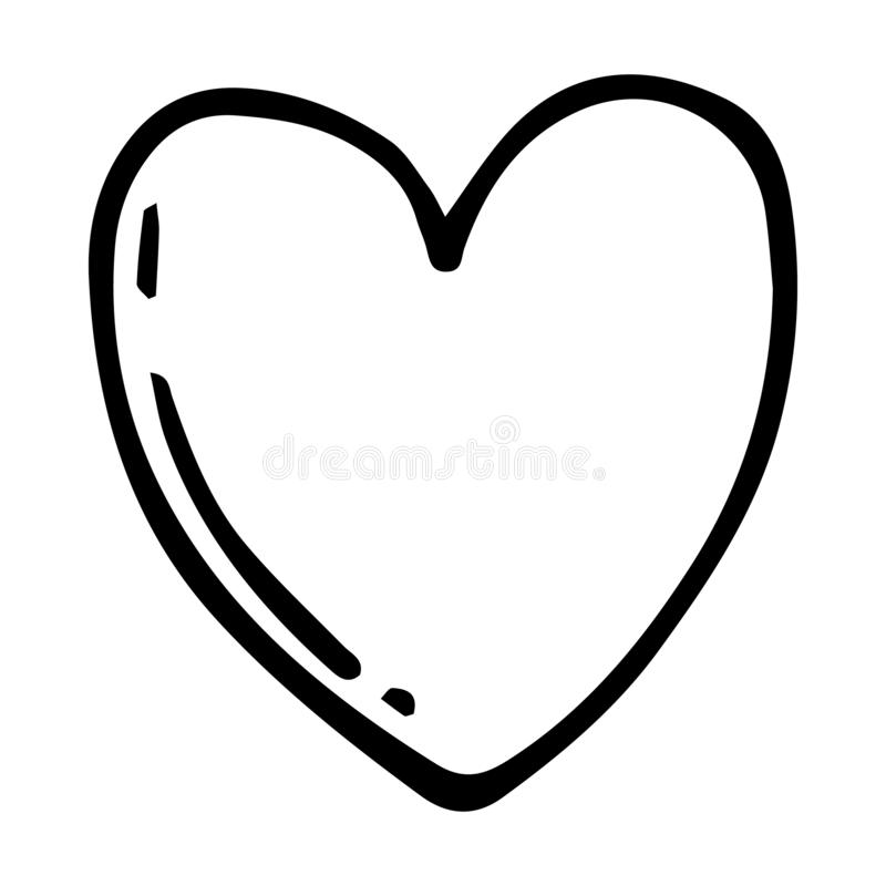 Handdrawn heart doodle icon. Hand drawn black sketch. Sign symbol. Decoration element. White background. Isolated. Flat design. Vector illustration, beautiful vector illustration