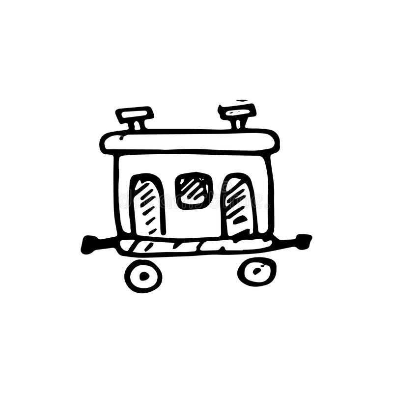 Handdrawn het vervoerpictogram van de krabbelspoorweg Hand getrokken zwarte schets vector illustratie
