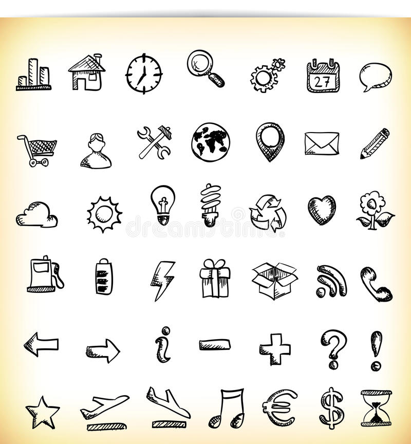 Download Handdrawn Icons stock vector. Image of note, gift, button - 29110902