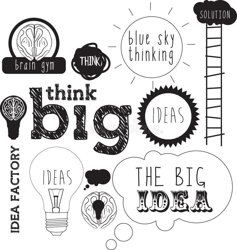 Handdrawn idéer eller bokstäver för idé- och innovationbegrepp royaltyfri illustrationer