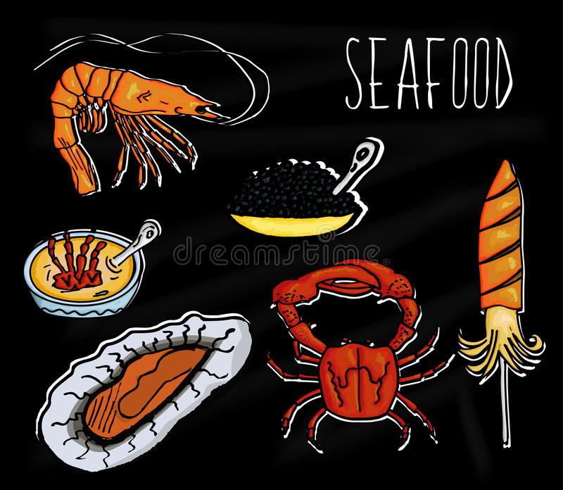 Handdrawn illustration from the collection of seafood. The old school blackboard with colorful colorful marine animals. Vector stock illustration