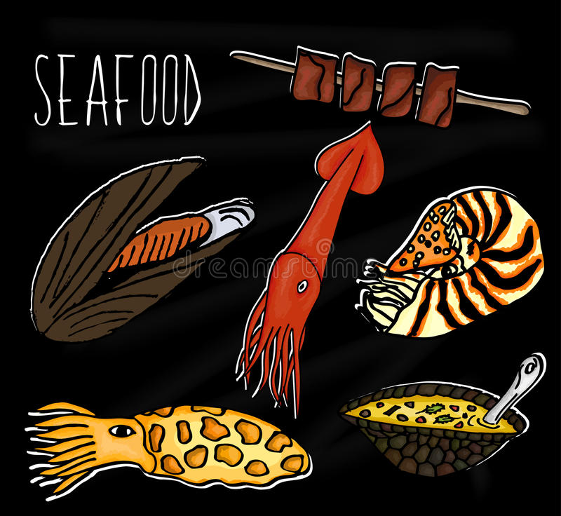 Handdrawn illustration from the collection of seafood. The old school blackboard with colorful colorful marine inhabitants. Vector royalty free illustration
