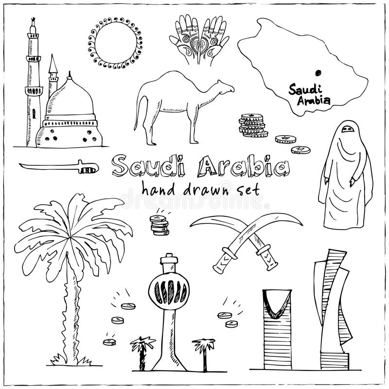 Handdrawn Illustration of Saudi Arabia Landmarks and icons with country English Arabic Modern doodle sketch vector. Handdrawn Illustration of Saudi Arabia vector illustration
