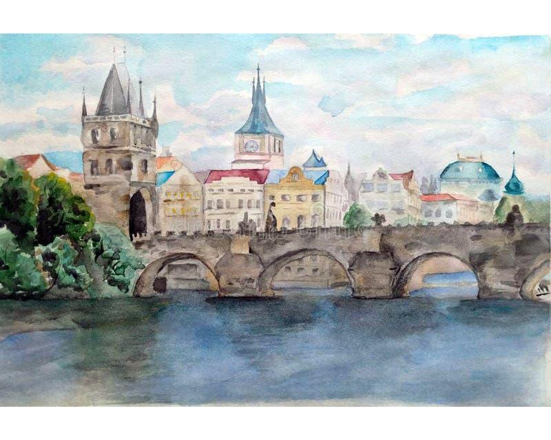 Handdrawn ilustracja Akwarela koloru krajobraz Praga, Charles most royalty ilustracja